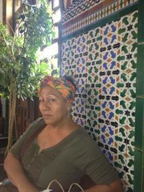 Linda enjoying the Moorish Tile Work at the station.