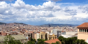 View from Mont Juic from the Miro Museum of Barcelona